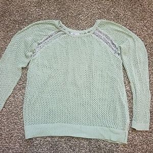 Mint crocheted sweater with sexy shoulder detail